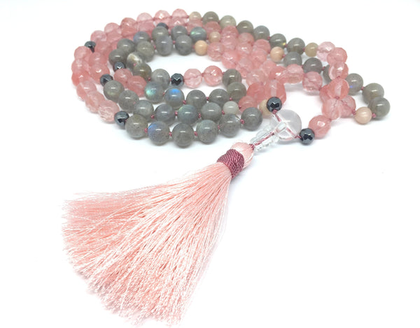 """LOVE & COMPASSION"" Tourmalin-Quartz und Labradorit Mala-Kette"