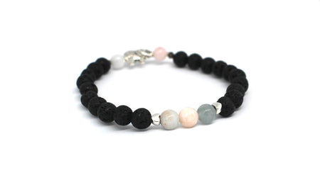 Tourmalin-Quartz & Lava-Stein Armband Set