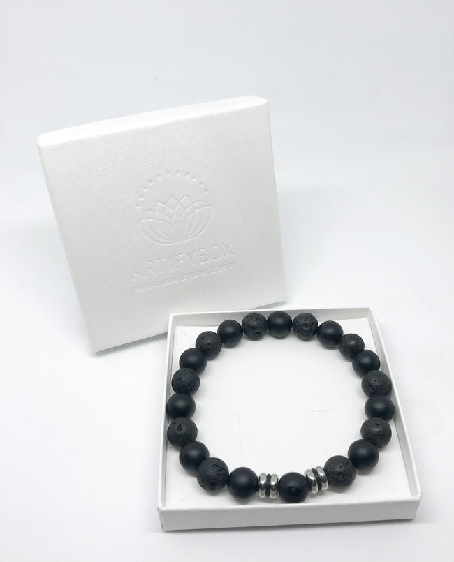 Lava stone and Hematite Men Bracelet with Om Sign