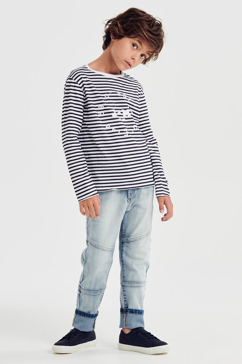 true stripe tee - mood indigo stripe