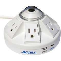 Accell D080B-032K Powramid C Power Center Surge Protector with USB-A and USB-C Charging Station (White)