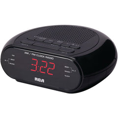 RCA RC205A Dual Alarm Clock Radio with Red LED & Dual Wake