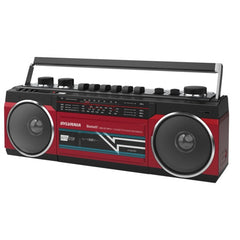 SYLVANIA SRC232BT-RED Bluetooth Retro Cassette Boombox with FM Radio (Red)