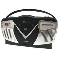 SYLVANIA SRCD212-BLACK Retro-Style Portable CD Radio Boom Box (Black)