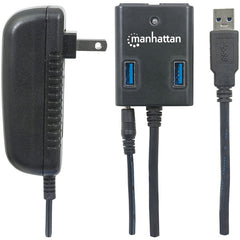 Manhattan 162302 SuperSpeed USB 3.0 Hub with AC Adapter