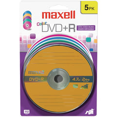 Maxell 639031 4.7GB 120-Minute DVD+Rs (5 pk, Color, Carded)
