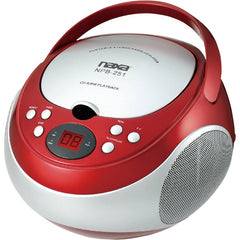 Naxa NPB251RD Portable CD Player with AM/FM Radio (Red)