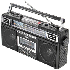 QFX J-220BT ReRun X Cassette Player Boombox with 4-Band Radio, MP3 Converter, and Bluetooth