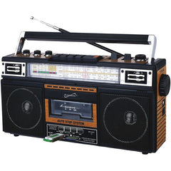 Supersonic SC-3201BT-WD Retro 4-Band Radio and Cassette Player with Bluetooth (Wood)