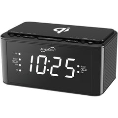 Supersonic SC-6030QI-BK Clock Radio with Qi Wireless Charging Station (Black)