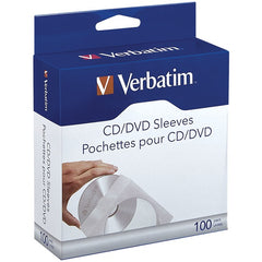 Verbatim 49976 CD/DVD Paper Sleeves with Clear Window, 100 pk