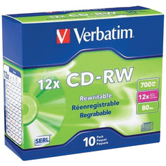 Verbatim 95156 700MB 80-Minute 4x-12x High-Speed Branded CD-RWs, 10 pk