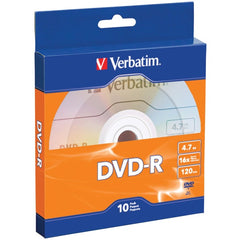 Verbatim 97957 4.7GB 120-Minute 16x DVD-Rs with Branded Surface, 10 pk