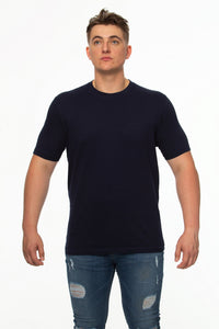 Tipsy Koala Men's Navy Solid Round Neck Cotton T Shirt