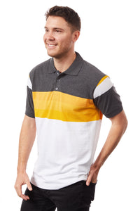 Tipsy Koala Men's Stripe Polo Orange and White