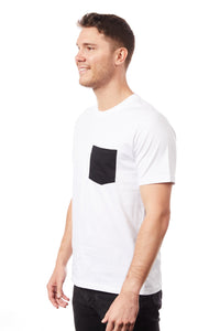 Tipsy Koala Men's White Round Neck with Black Pocket