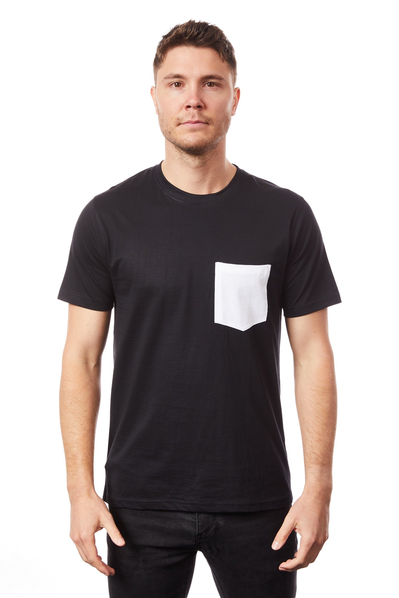 Tipsy Koala Men's Black Round Neck with White Pocket