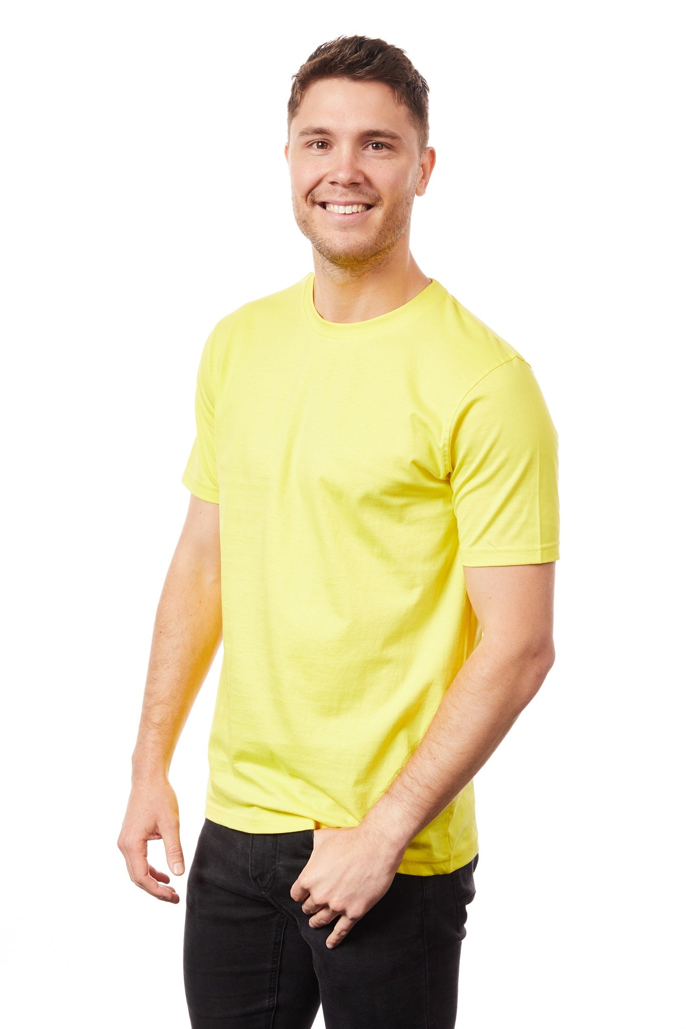 Tipsy Koala Men's Solid Yellow Round Neck