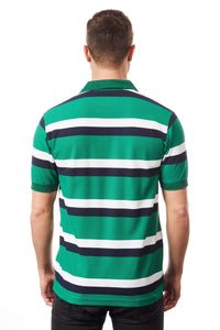 Tipsy Koala Men's Stripe Polo Green and White