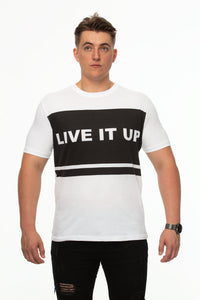 Tipsy Koala Men's Solid Print Cotton T Shirt - Live It Up