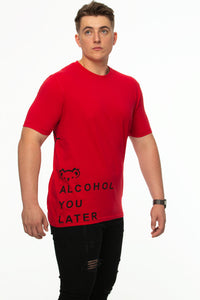 Tipsy Koala Men's Printed Cotton T Shirt - Alcohol - Red