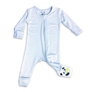 "Blue Unisex Convertible Footie / Long Sleeve Onesie ""All in One-sie"" Blue Zipper and Bellabu Bear Panda Logo in Super Soft Bamboo Fabric with a blend of stretch Double Zipper Easy Functional Eco-friendly Softest Best Baby Pajama Infant Newborn Toddler Kids Children PJ Romper Sleeper Top Rated Sleepwear"