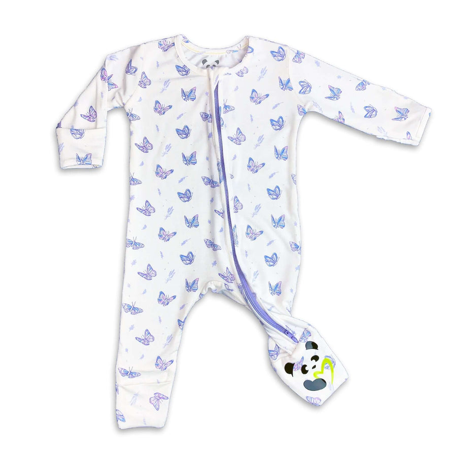 Lavender Butterfly Girls Unisex Convertible Footie / Long Sleeve Onesie