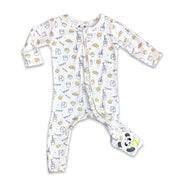 "Soft Baby Pajama Milk and Cookies Unisex Convertible Footie / Long Sleeve Onesie ""All in One-sie"" Cream Zipper with Cookies and Milk and Bellabu Bear Panda Logo in Super Soft Bamboo Fabric with a blend of stretch in Natural Milk Ivory Double Zipper Easy Functional Eco-friendly Softest Best Baby Pajama Infant Newborn Toddler Kids Children PJ Romper Sleeper Top Rated Sleepwear"