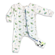 "Green Dragon Unisex Boys Convertible Footie / Long Sleeve Onesie ""All in One-sie"" Blue Zipper with Dragons and Bellabu Bear Panda Logo in Super Soft Bamboo Fabric with a blend of stretch in Natural Milk Ivory Double Zipper Easy Functional Eco-friendly Softest Best Baby Pajama Infant Newborn Toddler Kids Children PJ Romper Sleeper Top Rated Sleepwear"