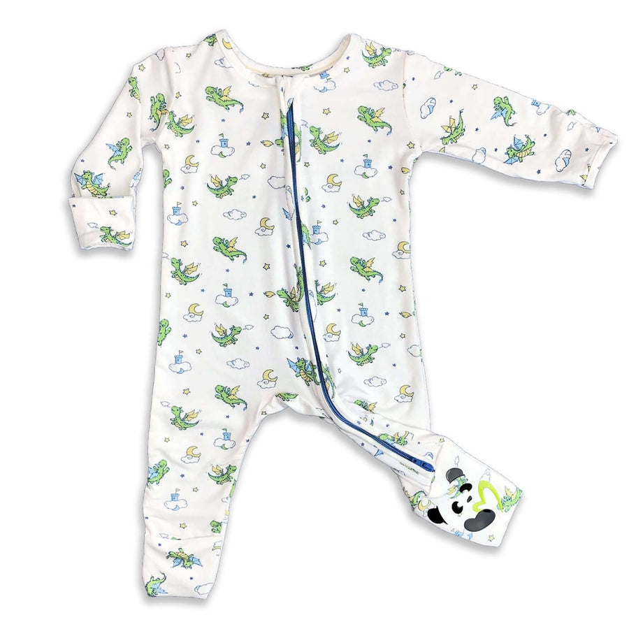 Green Dragon Unisex Boys Convertible Footie / Long Sleeve Onesie