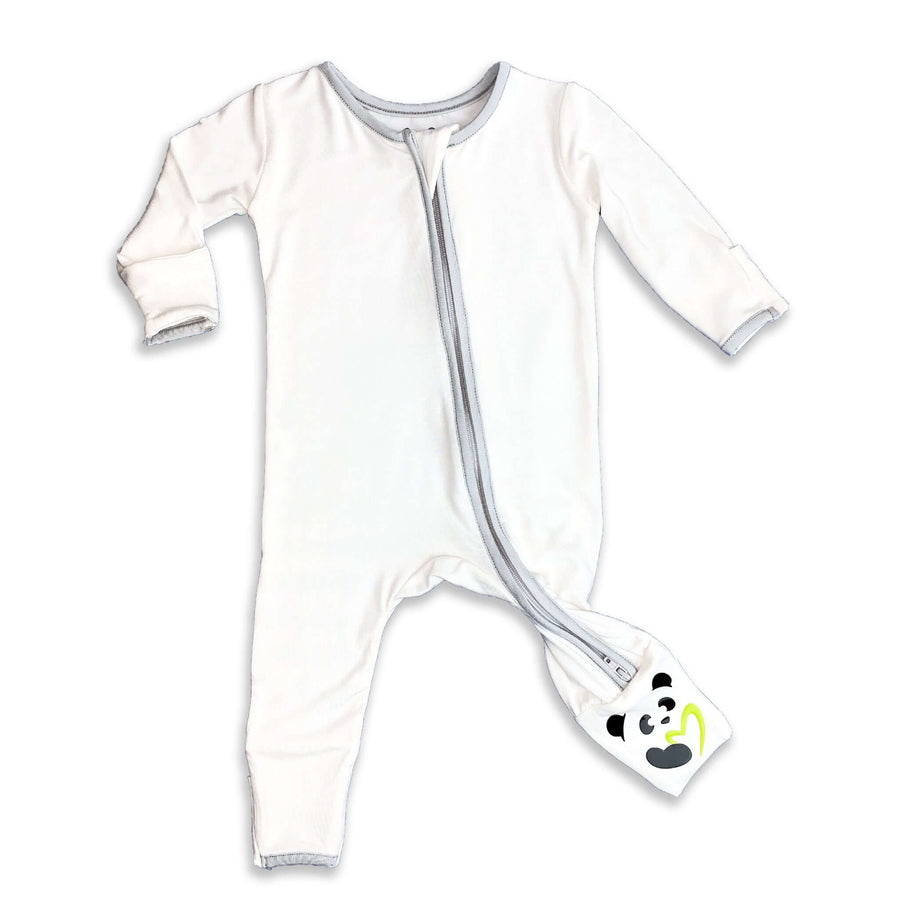 Grey trim on natural Unisex Convertible Footie / Long Sleeve Onesie