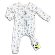 "Blue Ninja Boys Unisex Convertible Footie / Long Sleeve Onesie ""All in One-sie"" Blue Zipper with Karate Martial Arts Kung Fu Tai Kwon Do Ninjas and Bellabu Bear Panda Logo in Super Soft Bamboo Fabric with a blend of stretch in Natural Milk Ivory Double Zipper Easy Functional Eco-friendly Softest Best Baby Pajama Infant Newborn Toddler Kids Children PJ Romper Sleeper Top Rated Sleepwear"