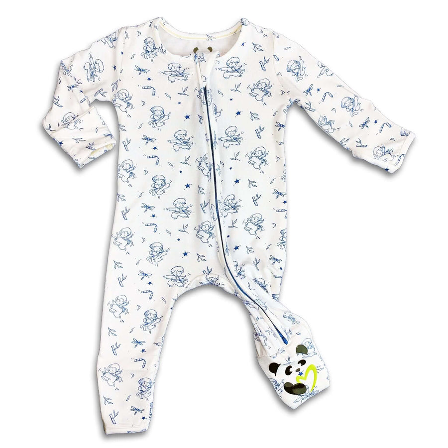 Blue Ninja Boys Unisex Convertible Footie / Long Sleeve Onesie