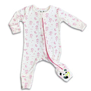 "Baby Pajamas Pink Ballerina Girls Ballet Convertible Footie / Long Sleeve Onesie ""All in One-sie"" Pink Zipper with Ballerinas and Bellabu Bear Panda Logo in Super Soft Bamboo Fabric with a blend of stretch in Natural Milk Ivory Double Zipper Easy Functional Eco-friendly Softest Best Baby Pajama Infant Newborn Toddler Kids Children PJ Romper Sleeper Top Rated Sleepwear"
