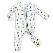 "Blue and Red Pirate Boys Unisex Convertible Footie / Long Sleeve Onesie ""All in One-sie"" Blue Zipper with Pirates and Sharks and Bellabu Bear Panda Logo in Super Soft Bamboo Fabric with a blend of stretch in Natural Milk Ivory Double Zipper Easy Functional Eco-friendly Softest Best Baby Pajama Infant Newborn Toddler Kids Children PJ Romper Sleeper Top Rated Sleepwear"
