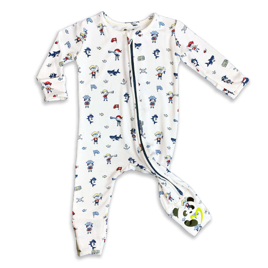 Blue and Red Pirate Boys Unisex Convertible Footie / Long Sleeve Onesie