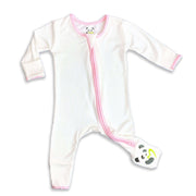 "Pink trim on natural Unisex Convertible Footie / Long Sleeve Onesie ""All in One-sie"" Pink Zipper and Bellabu Bear Panda Logo in Super Soft Bamboo Fabric with a blend of stretch Double Zipper Easy Functional Eco-friendly Softest Best Baby Pajama Infant Newborn Toddler Kids Children PJ Romper Sleeper Top Rated Sleepwear"