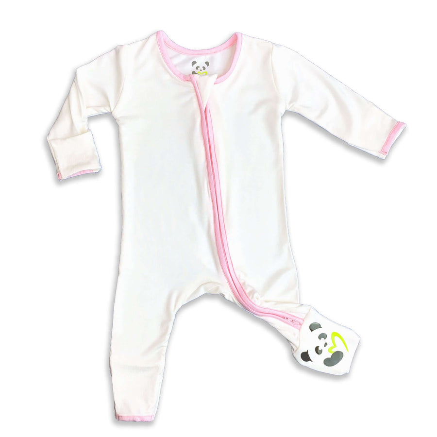 Pink trim on natural Unisex Convertible Footie / Long Sleeve Onesie