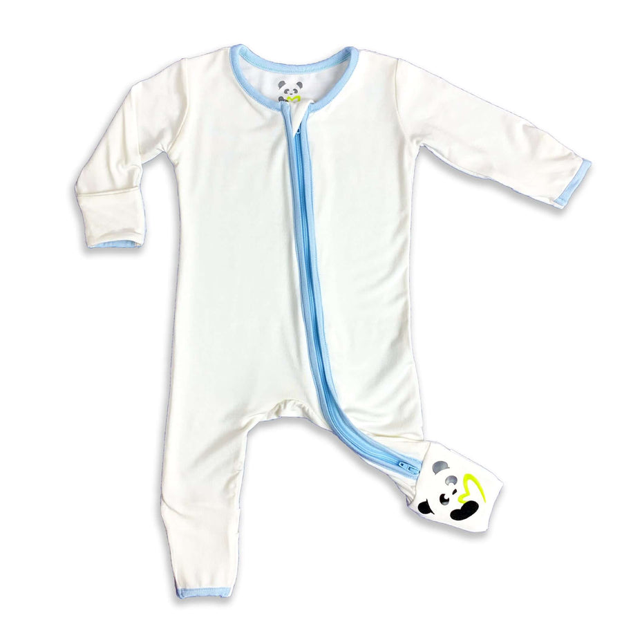 Blue trim on natural Unisex Convertible Footie / Long Sleeve Onesie
