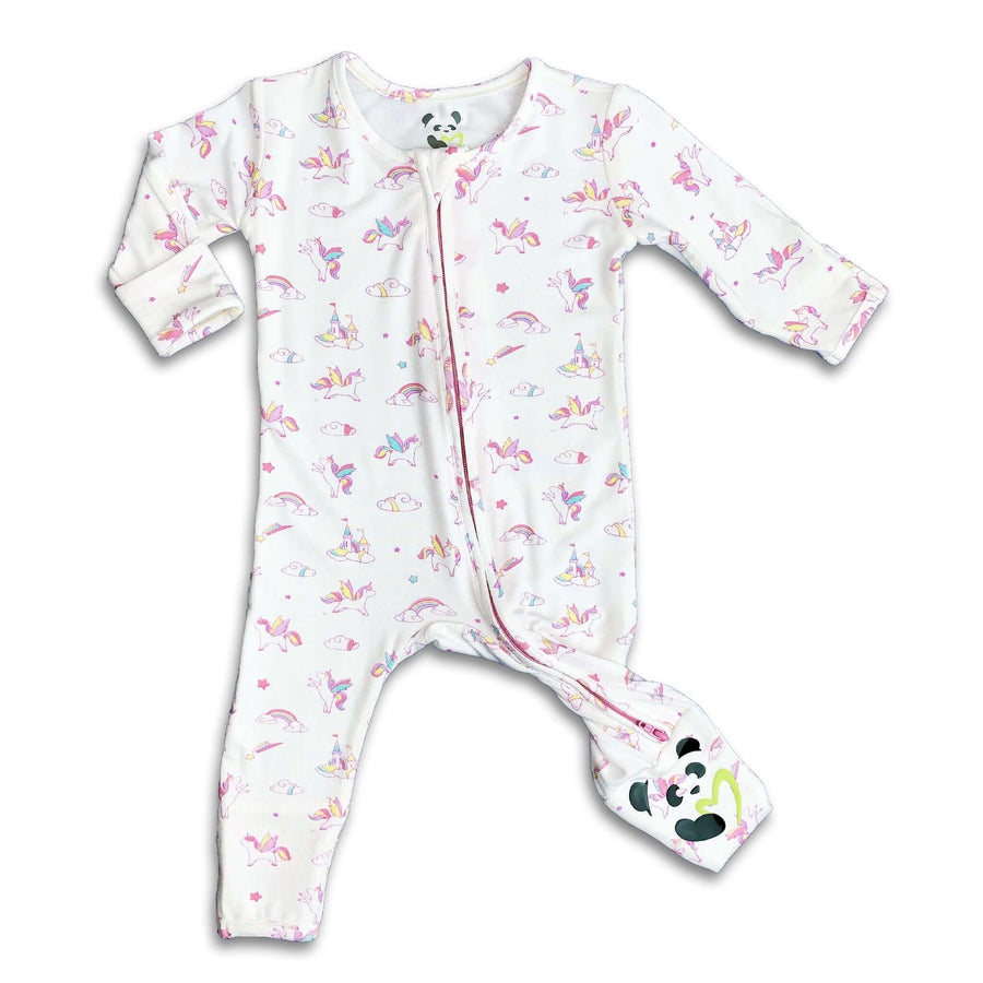 Pink and Purple Unicorn Girls Unisex Convertible Footie / Long Sleeve Onesie