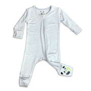 "Grey Unisex Convertible Footie / Long Sleeve Onesie ""All in One-sie"" Grey Zipper and Bellabu Bear Panda Logo in Super Soft Bamboo Fabric with a blend of stretch Double Zipper Easy Functional Eco-friendly Softest Best Baby Pajama Infant Newborn Toddler Kids Children PJ Romper Sleeper Top Rated Sleepwear"