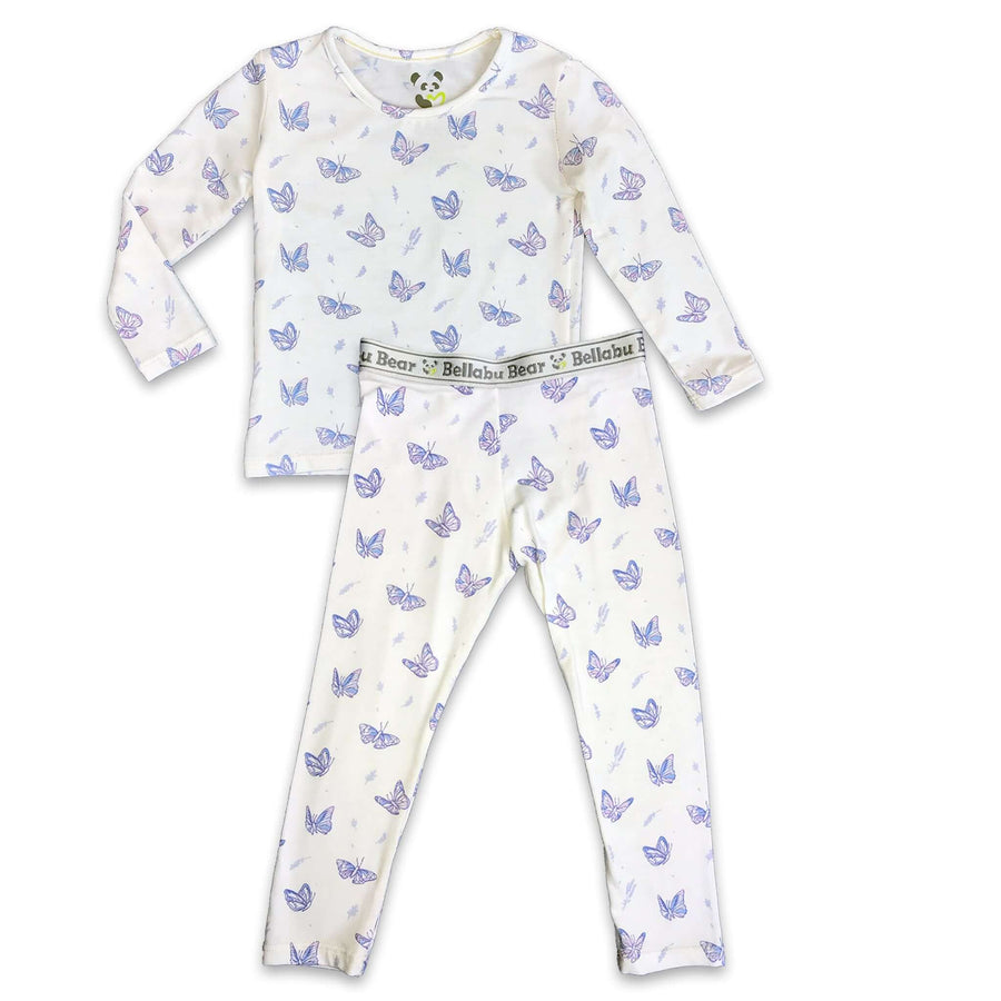 Lavender Butterfly girls Unisex Two-piece Long Sleeve Set