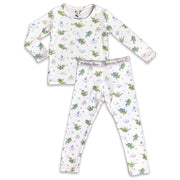 "Green Dragon boys girls Unisex Two-piece Long Sleeve Set ""Easy Two-Piecey"" Bellabu Bear Panda Logo Soft Waistband in Super Soft Bamboo Fabric with a blend of stretch in Natural Milk Ivory Eco-friendly Softest Best Baby Pajama Toddler Kids Children PJ Sleeper Top Rated Sleepwear"
