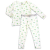 "Green Dragonfly boys girls Unisex Two-piece Long Sleeve Set ""Easy Two-Piecey"" Bellabu Bear Panda Logo Soft Waistband in Super Soft Bamboo Fabric with a blend of stretch in Natural Milk Ivory Eco-friendly Softest Best Baby Pajama Toddler Kids Children PJ Sleeper Top Rated Sleepwear"