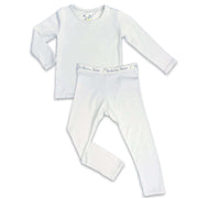 "Cloud Grey boys girls Unisex Two-piece Long Sleeve Set ""Easy Two-Piecey"" Bellabu Bear Panda Logo Soft Waistband in Super Soft Bamboo Fabric with a blend of stretch in Natural Milk Ivory Eco-friendly Softest Best Baby Pajama Toddler Kids Children PJ Sleeper Top Rated Sleepwear"