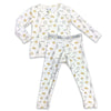 "Soft Baby Pajama Milk and Cookies Unisex Two pieces set matching ""Easy Two-Piecey"" Cream Zipper with Cookies and Milk and Bellabu Bear Panda Logo in Super Soft Bamboo Fabric with a blend of stretch in Natural Milk Ivory Double Zipper Easy Functional Eco-friendly Softest Best Baby Pajama Infant Newborn Toddler Kids Children PJ Romper Sleeper Top Rated Sleepwear"
