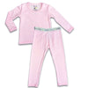 "Pink Natural boys girls Unisex Two-piece Long Sleeve Set ""Easy Two-Piecey"" Bellabu Bear Panda Logo Soft Waistband in Super Soft Bamboo Fabric with a blend of stretch in Natural Milk Ivory Eco-friendly Softest Best Baby Pajama Toddler Kids Children PJ Sleeper Top Rated Sleepwear"