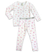 "Pink Unicorn girls Unisex Two-piece Long Sleeve Set ""Easy Two-Piecey"" Bellabu Bear Panda Logo Soft Waistband in Unicorns and Rainbows Super Soft Bamboo Fabric with a blend of stretch in Natural Milk Ivory Eco-friendly Softest Best Baby Pajama Toddler Kids Children PJ Sleeper Top Rated Sleepwear"