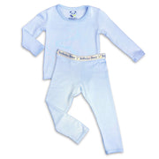 "Sky Blue boys girls Unisex Two-piece Long Sleeve Set ""Easy Two-Piecey"" Bellabu Bear Panda Logo Soft Waistband in Super Soft Bamboo Fabric with a blend of stretch in Natural Milk Ivory Eco-friendly Softest Best Baby Pajama Toddler Kids Children PJ Sleeper Top Rated Sleepwear"