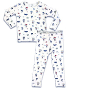 "Pirate boys girls Unisex Two-piece Long Sleeve Set ""Easy Two-Piecey"" Bellabu Bear Panda Logo Soft Waistband in Super Soft Bamboo Fabric with a blend of stretch in Natural Milk Ivory Eco-friendly Softest Best Baby Pajama Toddler Kids Children PJ Sleeper Top Rated Sleepwear"
